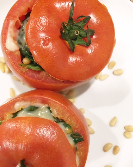 Roasted Spinach and Pine Nut Tomatoes