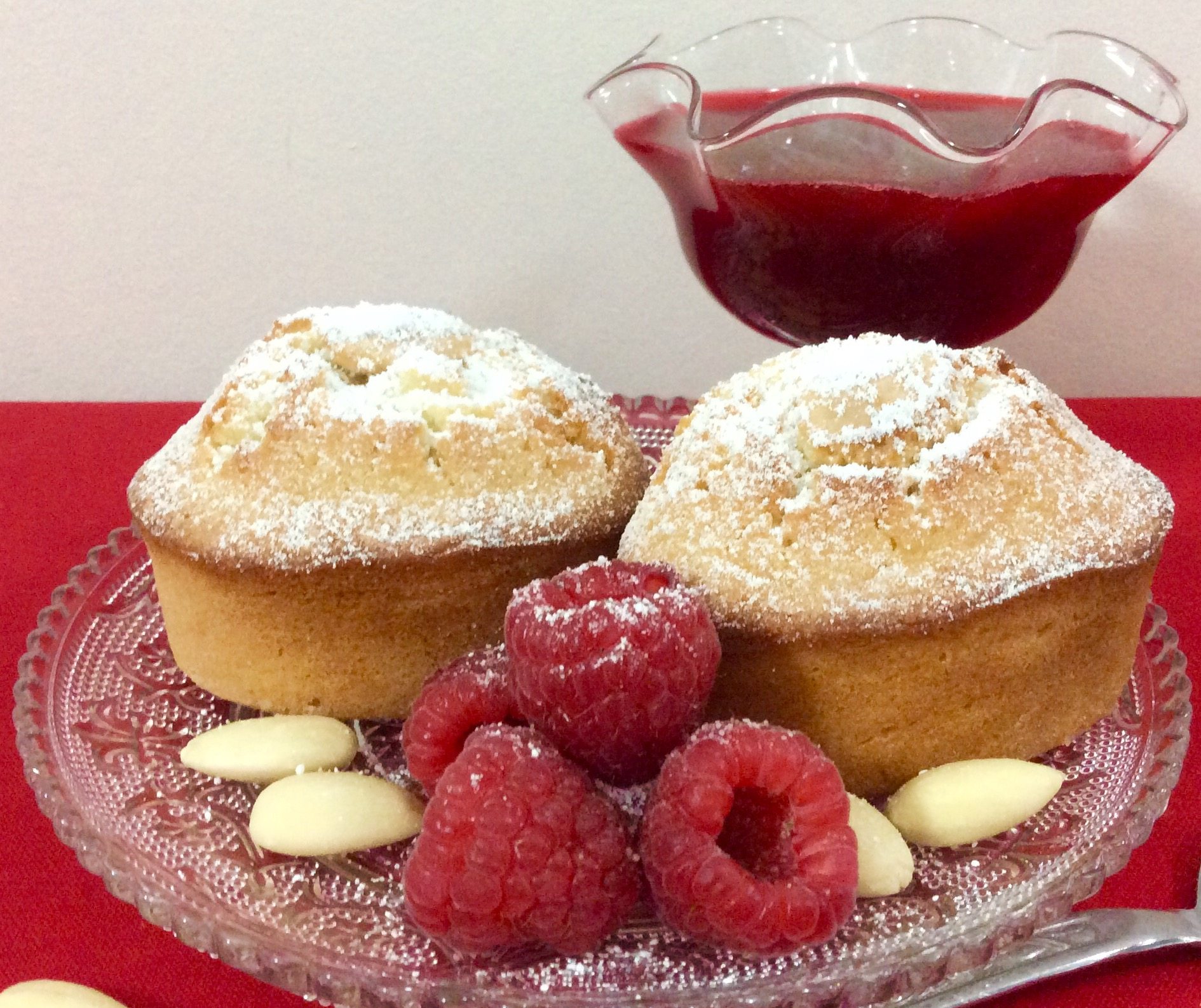 Almond Friands and Raspberry Coulis